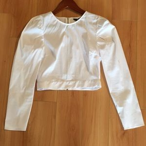Zara Tops - Zara basic white cotton crop top